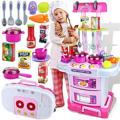 OBLETTER Big Size Portable Suitcase Shape Musical Kitchen Set Toy for Kids Girls with Light and Accessories