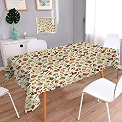 Anmaseven Vintage Square Patterned Tablecloth Retro Pattern Old Fashioned Icons Alarm Clock Typewriter Gramophone Radio Cassette Dust-proof Oblong Tablecloth Multicolor Size: W54 x L54
