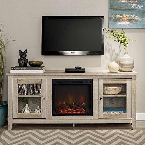 New 58 Inch Wide Television Stand with Fireplace in White Oak Finish by Home Accent Furnishings
