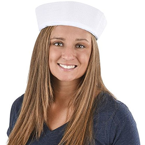 Adult White Sailor Hats - 6 Pack -