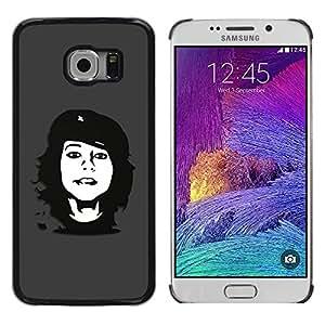 Che Rebel Girl - Metal de aluminio y de plástico duro Caja del teléfono - Negro - Samsung Galaxy S6 EDGE / SM-G925 / SM-G925A / SM-G925T / SM-G925F / SM-G925I