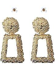 IKBEN Earrings for women, Big metal geometric (trapezium) drop earrings, Gold color
