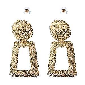 Earrings for women, Big metal geometric (trapezium) drop earrings, Golden