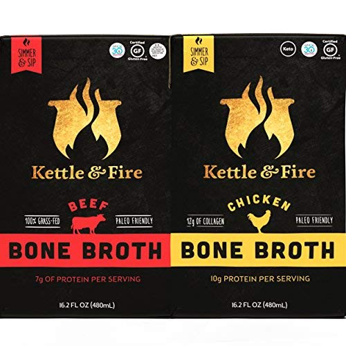 Kettle & Fire Chicken & Beef Bone Broths- 16.2oz 2 (1 each of Chicken & Beef) Pack of Collagen & Gelatin Rich Bonebroth. Paleo/Keto/Gluten Free/Whole 30 Gut Friendly Nutrition from Ancient Source.