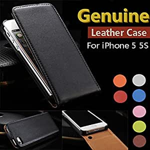 Fashionable Genuine Leather Flip Full Body Case for iPhone 5/5S Mobile cases/5G ,Color: Orange