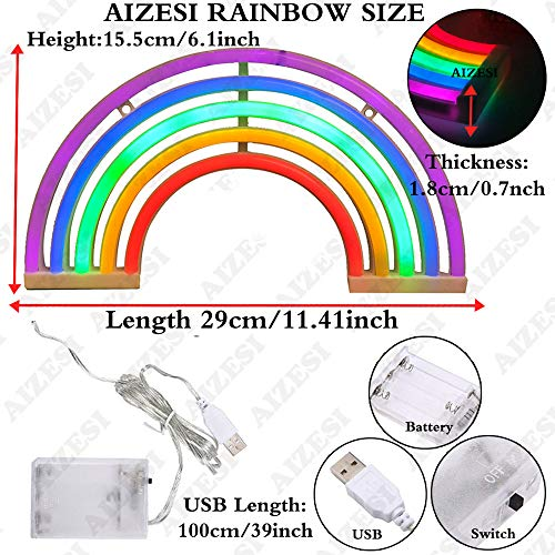 AIZESI Rainbow Neon Lights,Rainbow Christmas Lights, Neon Wall Light Battery Operated/USB for Bedroom,Desk,Bar, Birthday Party,Living Room,Girl Room, Wedding Bathroom Party Festival Decorations by AIZESI (Image #5)