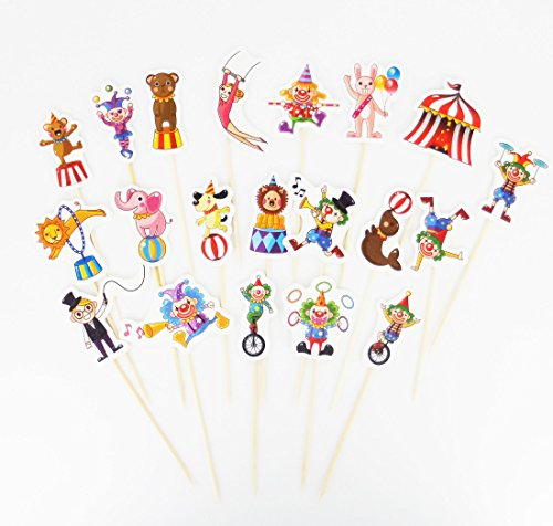 Yunko 30pcs Circus Cnimal Clown Performer Trainer Cake Cupcake Decorative Cupcake Topper for Kids Birthday Party Themed Party Baby Shower]()