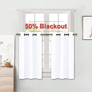 NICETOWN Small Window Curtain Tiers - Pure White Elegant Home Decor Grommet Design Kitchen Drapes/Panels (42W by 36L + 1.2 inches Header, 2 Pieces)