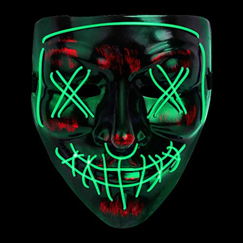 Verkstar Halloween Mask LED Light Cosplay Costume Scary Mask EL Wire Light up for Halloween Festival Party Masquerade Parties Carnival(Green)