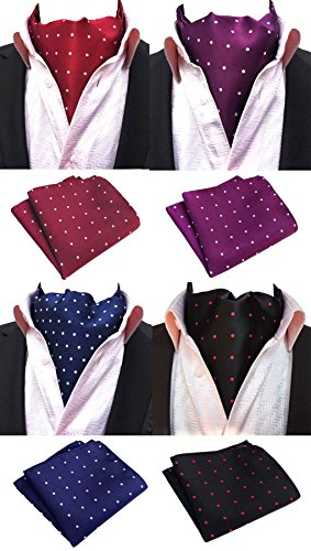 - MOHSLEE Mens Formal Polka Dots 4 Pack Cravat Ascot Scarf Tie & Pocket Square Set