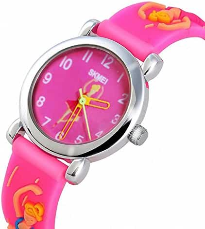 Toddler Kids Outdoor Sports Quartz Analog Waterproof Children Wrist Dress Watch with Unusual 3D Dancing Ballet Silicone Band for Girls - Pink
