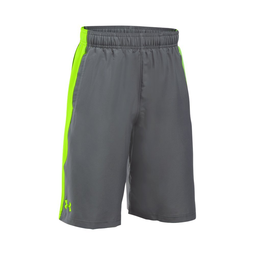 Under Armour Boys' Impulse Woven Shorts, Graphite (040)/Fuel Green, Youth X-Small by Under Armour
