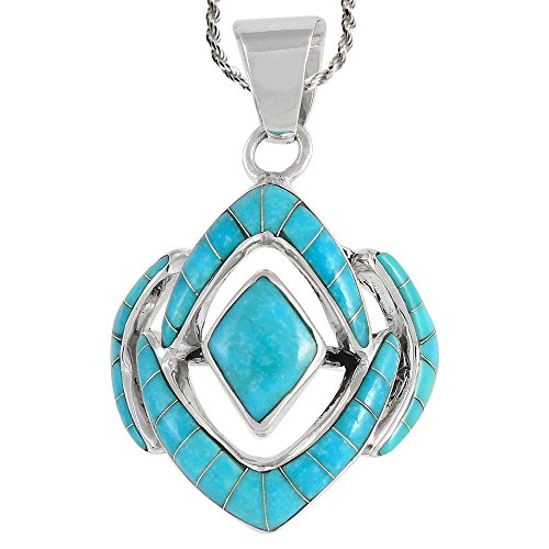 (Turquoise Necklace 925 Sterling Silver & Genuine Turquoise 20