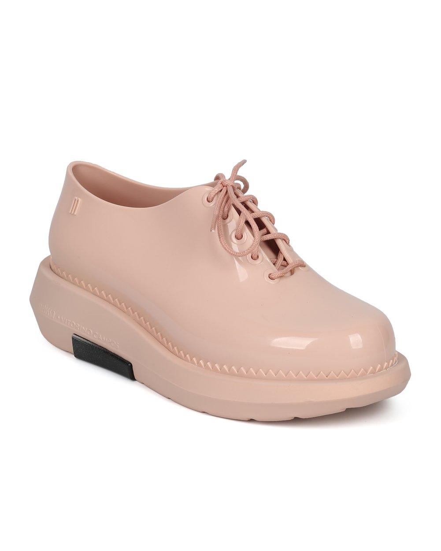 Melissa Women Lace Up Platform Oxford - Platform Creeper Spectator - Trendy Androgynous Boyfriend Comfortable Walker Loafer - Grunge Vitorino Campos - Pink/Black Jelly (Size: 5.0)