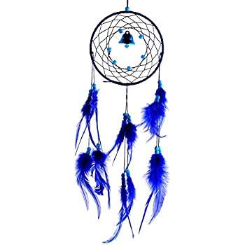Soledi India Style Handmade Blue Dream Catcher Circular Net With_feathers Wall Hanging