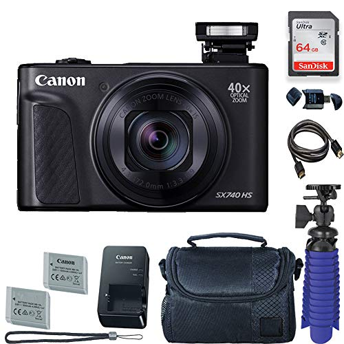 Camera Ion Digital Canon Lithium - Canon PowerShot SX740 HS Digital Camera (Black) with 64 GB Card + Premium Camera Case + 2 Batteries + Tripod