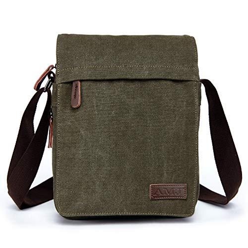 AMJ Unisex Multifunctional Canvas Messenger Bag Crossbody Shoulder Bag Travel Bag, Small, Green