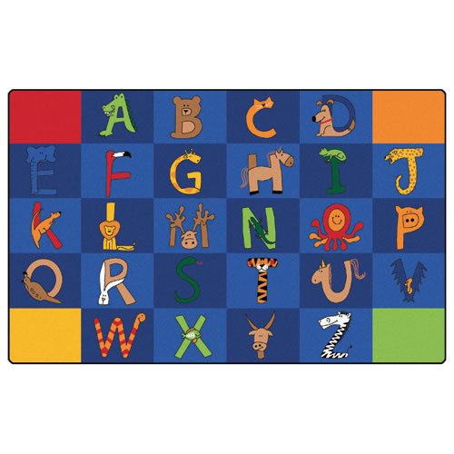 Carpets for Kids 5512 Literacy a to Z Animals Kids Rug Size x Z x, 7'6'' x 12' , Blue by Carpets for Kids