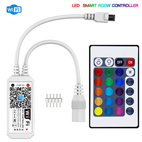 Konxie Smart WiFi RGBW LED Controller, Compatible with Alexa/Google Assistant, for 5050/3528 LED Strip Light, have 24 Key Remote Control,Support Android IOS System