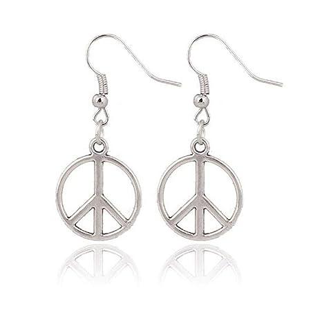 ddfe26bc2 Amazon.com: Simple Large Peace Sign Earrings , Silver Peace Earrings , Silver  Earrings , CND Earrings , Retro Jewellery , Handmade Jewelry , Hippie:  Arts, ...