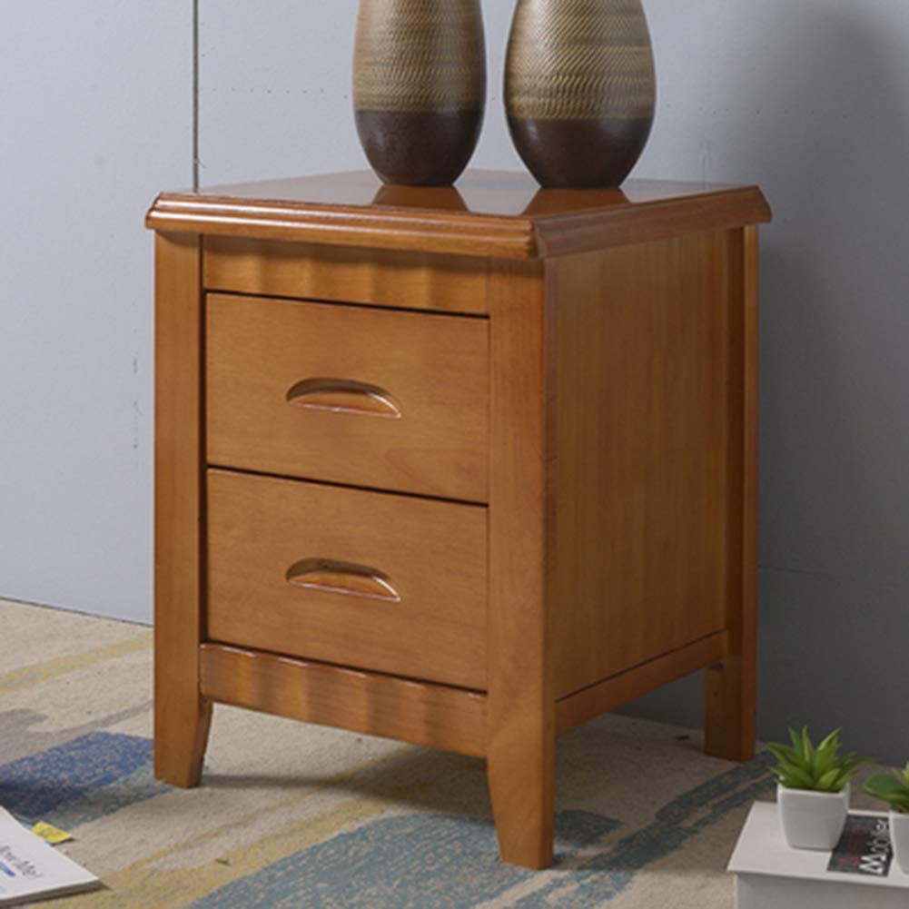 Bedside Tables Oak, Cabinet Wooden Solid Wood Painted Nightstands with 2 Drawer Storage for Bedroom or Bathroom