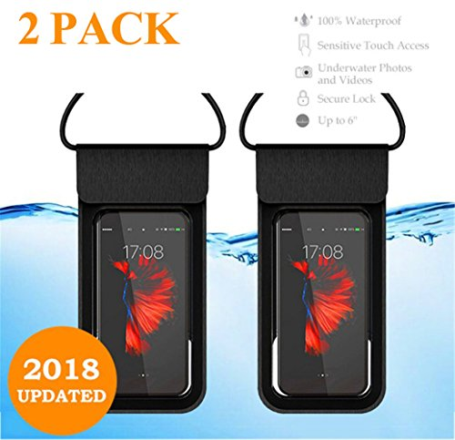 【2018 Updated 】Universal Waterproof Case, IPX8 Waterproof Phone Pouch Underwater New Type Dry Bag for iPhone X, 8, 8 Plus, 7, 7plus, 6, 6s, 6s plus, Galaxy S9/S9 Plus/s8/s7 Google Pixel (Black X 2