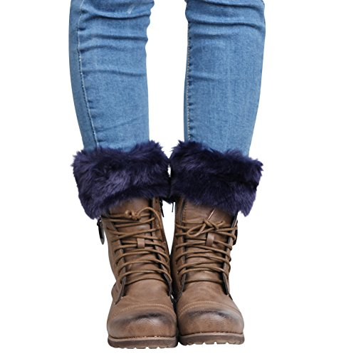 Womens Faux Fur Boot Covers Leg Warmers Wool Royal Blue]()