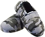 LA PLAGE Little/Big Kids Boys Camouflage Grey Slippers with Cozy Warm Memory Foam Indoor Outdoor Slip-on Anti-