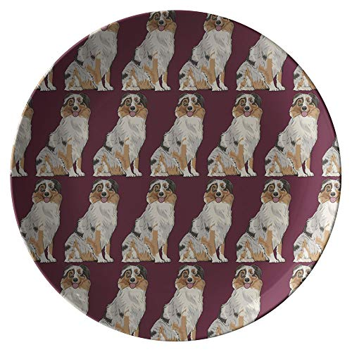 Shepherd Dog Plate - Australian Shepherd Dog Dinner Plates, Dog Lover Mom Dad Gifts 9176, Set of 4 Plates