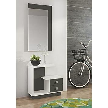 LIQUIDATODO - Mueble de recibidor Moderno y Barato en Color Blanco/Grafito - Star