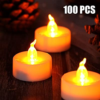 AGPtek® Set of 100 Flameless & Smokeless Realistic Light LED Candles Tealights Amber Yellow Operated on Batteries