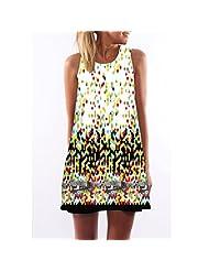 RAYWIND Women Sleeveless Round Neck Floral Print Summer Tank Beach Dress