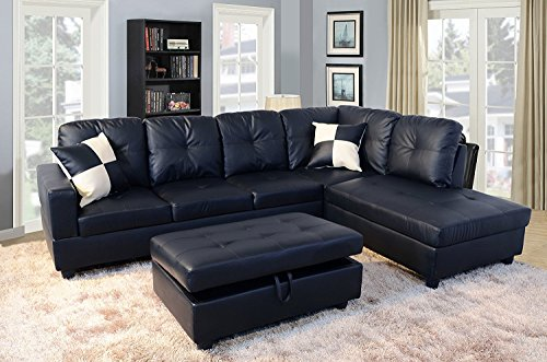Facing Garden Accent - Home Garden Collections 3 Piece Faux Leather Contemporary Right-facing Sectional Sofa Set with Ottoman, 2 Accent Pillows, Black Product SKU: HF3004LS3