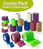 MEDca Self Adhesive Non Woven Cohesive Bandage COMBO PACK 1 Inch 2 Inch and 3 inch X 5 Yards 6 of Each Size Total of 18 Rolls 'Rainbow Color