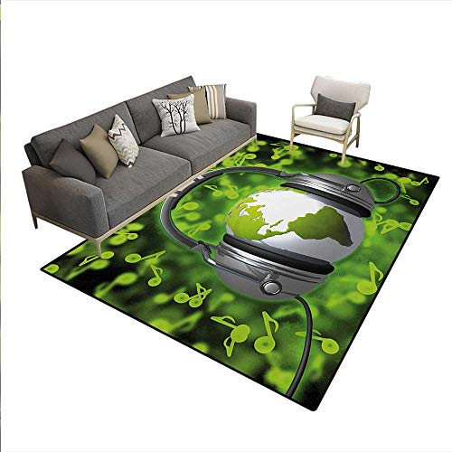 Floor Mat,World Music Themed Composition DJ Headphones Musical Notes Earth Globe,3D Printing Area Rug,Lime Green Grey,5'x6'