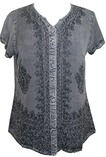 Agan Traders 144 B Medieval Boho Embroidered Top Blouse (Small, Silver/Gray)