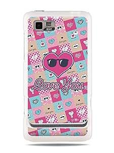 GRÜV Premium Case - 'Cute Sweet Girly Girls : Love You Hearts Collage' Design - Best Quality Designer Print on White Hard Cover - for Motorola Motoluxe XT615