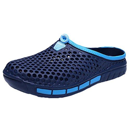 YOUJIA Unisexo Verano Al aire libre Respirable Zuecos Zapatos de la playa Agua Plano Zapatillas #3 Azul