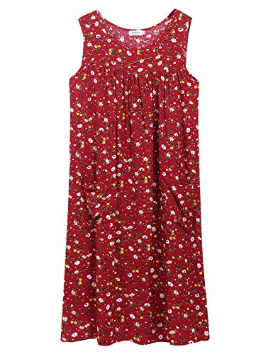 - Sleeveless Shift Dress Sundress Floral Print House Dresses for Women with Pockets (L, Tulip Red)