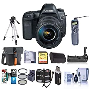 Canon EOS-5D Mark IV Digital SLR Camera Body Kit with EF 24-105mm f/4L IS II USM Kit Bundle with 64GB U3 SDHC Card, Holster Case, Tripod, Spare Battery, Battery Grip, Software Package, And more