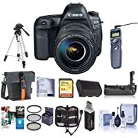 Canon EOS-5D Mark IV Digital SLR Camera Body Kit with EF 24-105mm f/4L IS II USM Kit Bundle with 64GB U3 SDXC Card, Holster Case, Tripod, Spare Battery, Battery Grip, Software Package and More