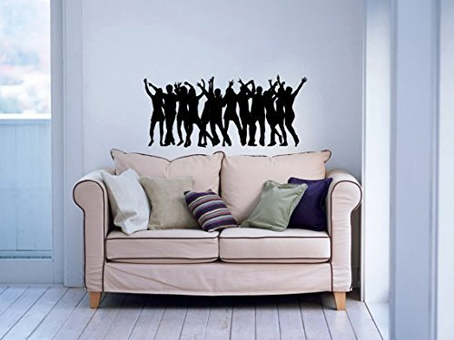 (Vinyl Decal Mural Sticker People Dancing Silhouette Stylish Dance Studio Sv4600)