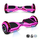 6.5' inch Chrome Hoverboard Electric Smart Self Balancing Scooter with Built-in Speaker LED Wheels and LED Side Lights- UL2272 Certified (Pink)