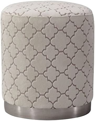 TOV Furniture The Opal Collection Contemporary Moroccan Style Textured Velvet Upholstered Living Room Ottoman