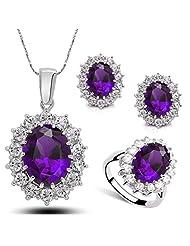 Fancy Charming Women Purple Crystal Jewelry Sets Flower Shaped Necklace & Ring & Earrings Jm2315