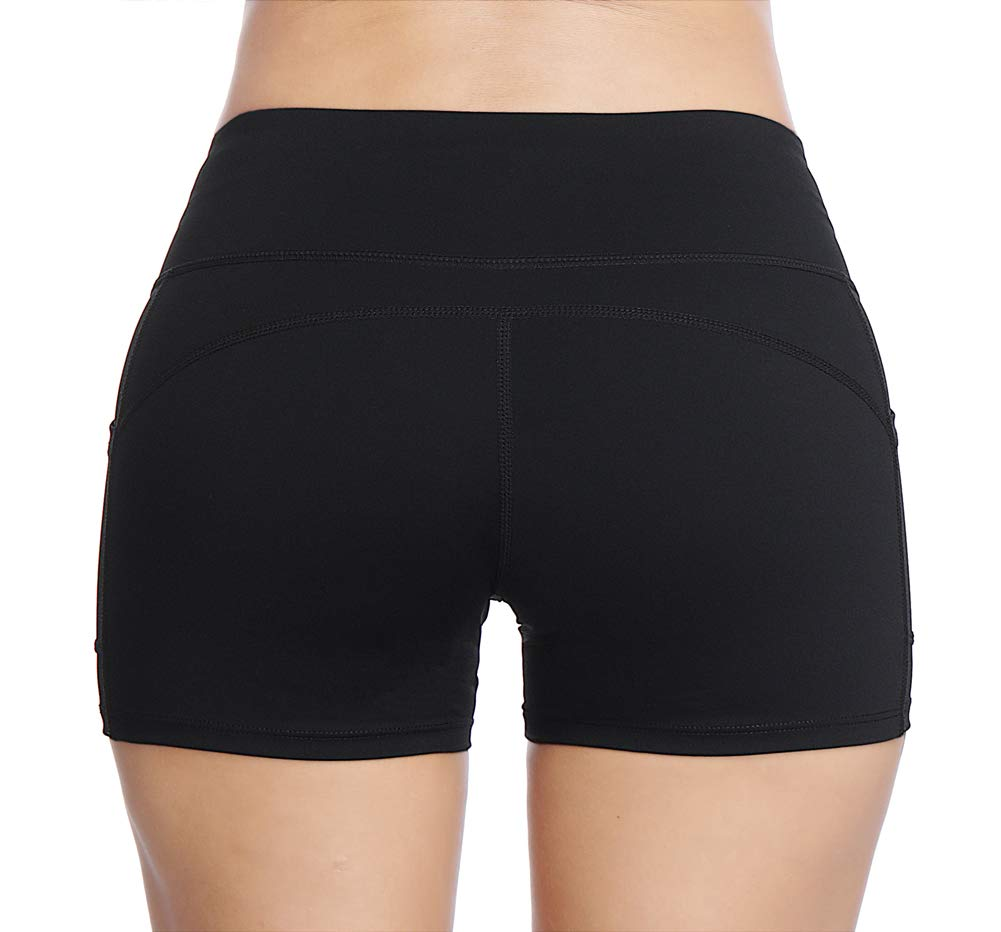 THE GYM PEOPLE Compression Short Yoga Shorts Women Power Flex Running Fitness Shorts with Pockets (Medium, Black) by THE GYM PEOPLE (Image #3)
