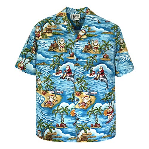 Aloha Republic Large Blue Exclusive Christmas Hawaiian Shirt with Santa Surfing ()