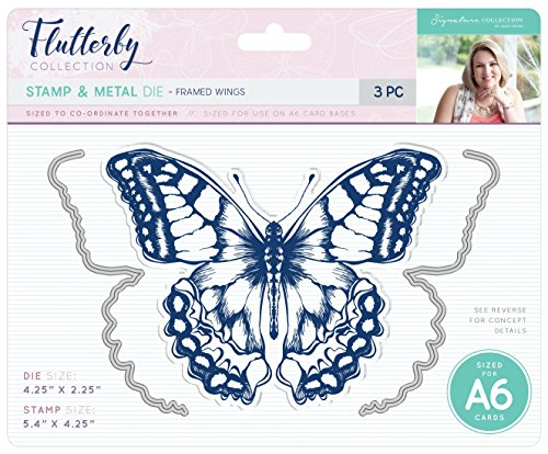 Sara Signature Collection S-F-MDS-FW Sara Signature Flutterby - Stamp & Die - Framed Wings Stamp Set & Die, Silver
