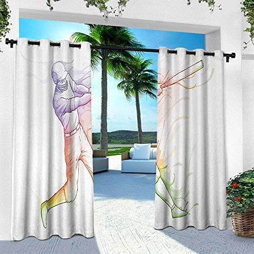 Hengshu Baseball, Outdoor Privacy Curtain for Pergola,Baseball Player Standing at Home Plate and Hitting Strong Colorful Motion Effects, W108 x L108 Inch, Multicolor