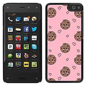 EJOY---Cubierta de la caja de protección para la piel dura ** Amazon Fire Phone ** --cara del corazón de galletas smiley rosado dulce